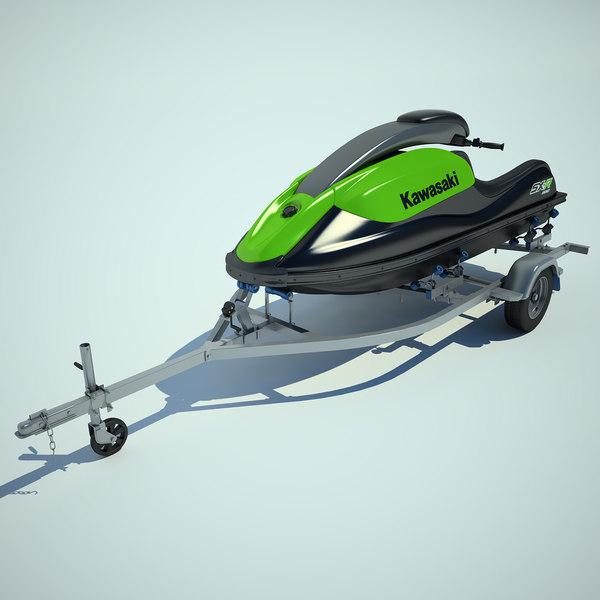 Trailer Jet Ski Kawasaki 800 3D Models