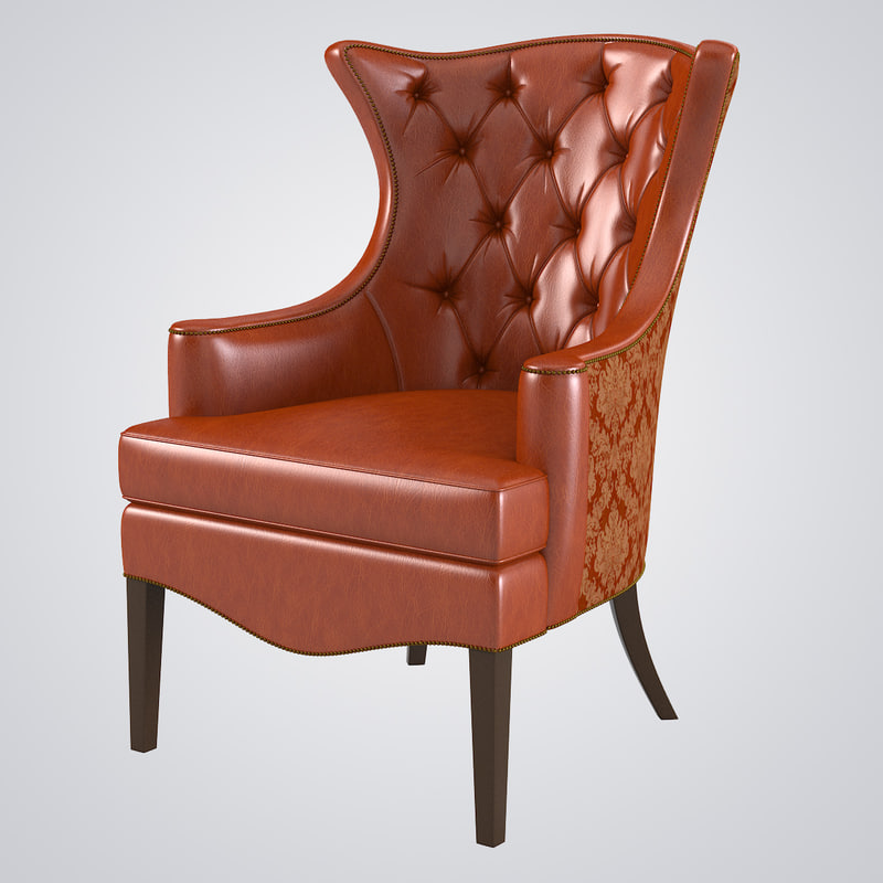 tufted wing chair 1231 18 3d max