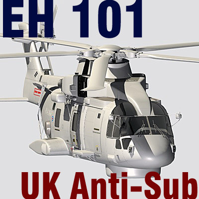 UK Navy  EH-101 Merlin anti-submarine helicopter C4D 3D Models