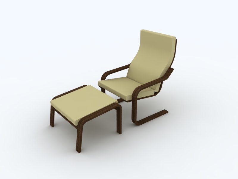 Apartment Lounge Chair and Ottoman - NURBS
