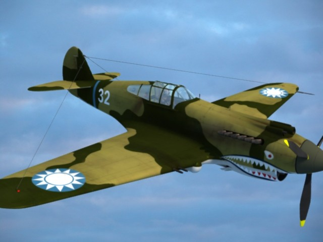 3d max p 40 warhawk fighter aircraft