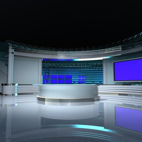 Virtual TV Studio Set 4 3D Models