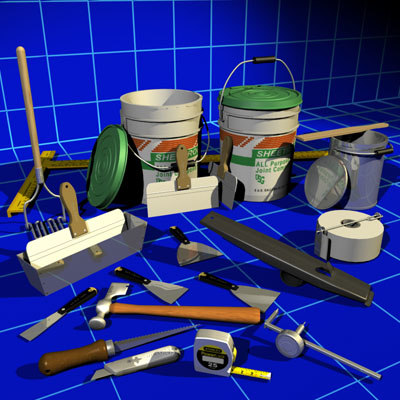Drywall Tools & Mud Buckets 01 3D Models
