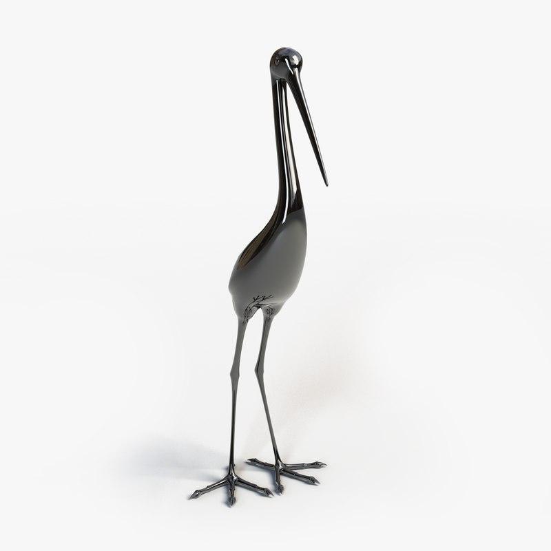 3d model statue heron