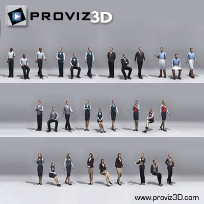 3D People: 30 Still 3D Waiter Vol. 01 3D Models