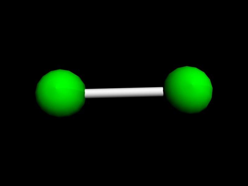 3d model chlorine molecule