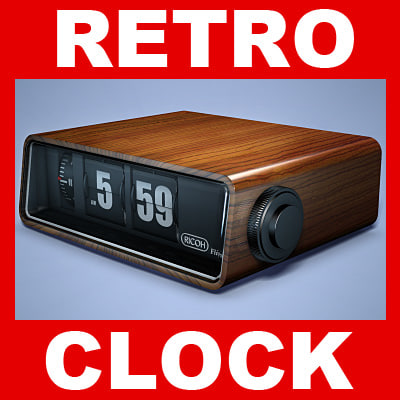 Retro Flip Clock 3D Models