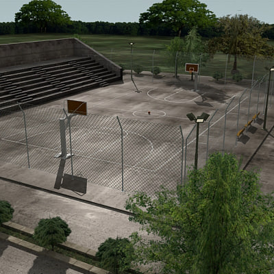 Outdoor Basketball Arena 3D Models