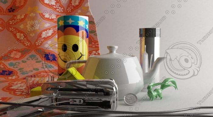 3ds max cup metal teapot