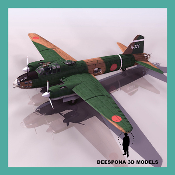 G4M 11 MITSUBISHI ISIKIRIKKO BETTY JAPANESE BOMBER WWII 3D Models