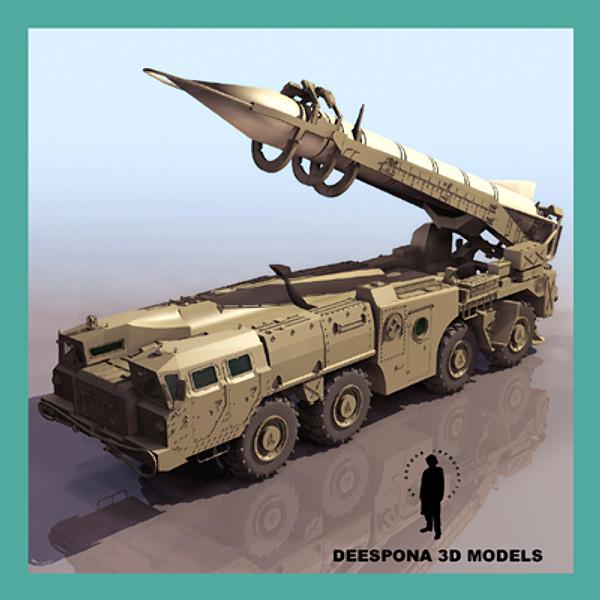 SCUD B MISSILE LAUNCHER SOVIET RUSSIAN IRAK 3D Models