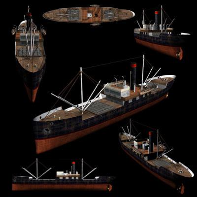 Ship Steam Freighter (WW1) 3D Models