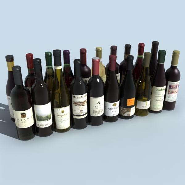 wine bottles 3D Models