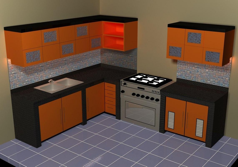Small kitchen set 3d model for Model kitchen set