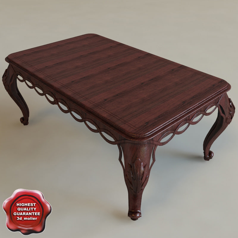 Table classic interior 3d c4d for Table 52 2014