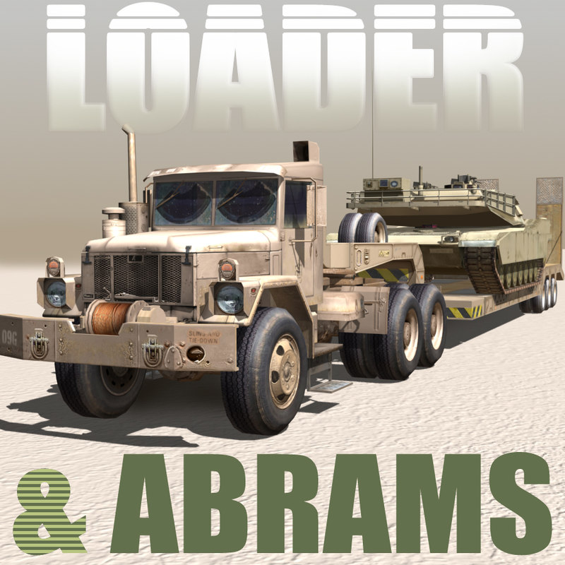 3d military truck low loader abrams