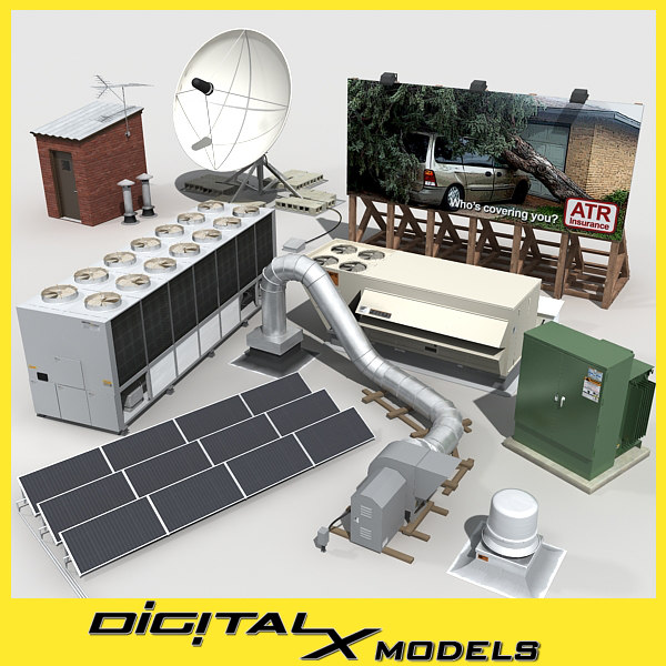 rooftop mechanical collection 3D Models