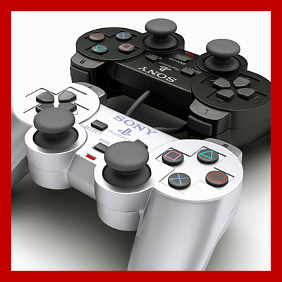 PS2 Controller - Dualshock 2 (Black and Silver Edition) 3D Models