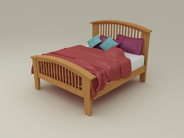 Furnished Double bed from Nimbus Bedroom Furniture Set - High Quality Furniture 3d model