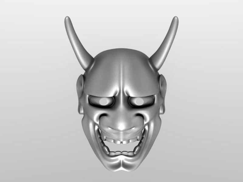 3d model japanese mask for Kabuki mask template