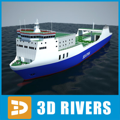 Ro-ro container ship 02 by 3DRivers 3D Models