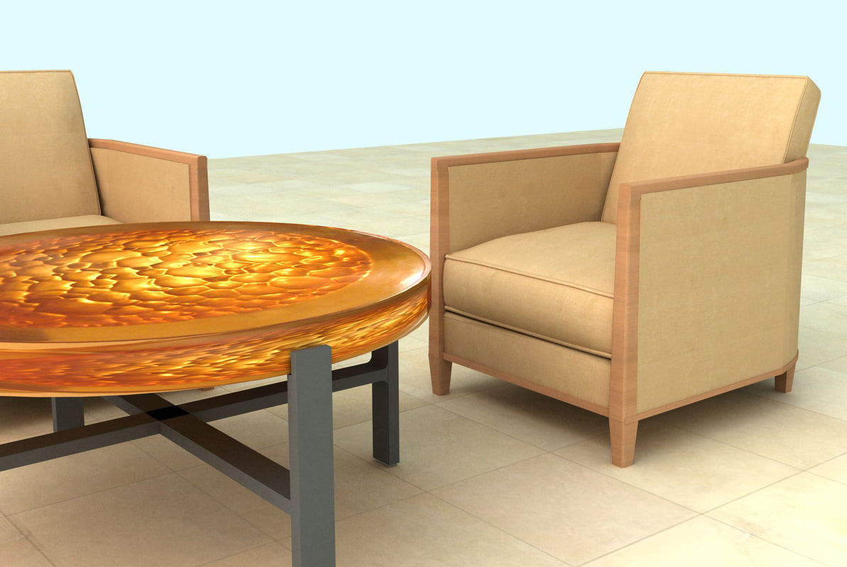 Club chairs and amber coffee table