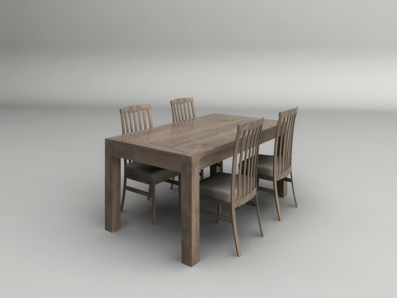 3d model light wood dining table for New model wooden dining table