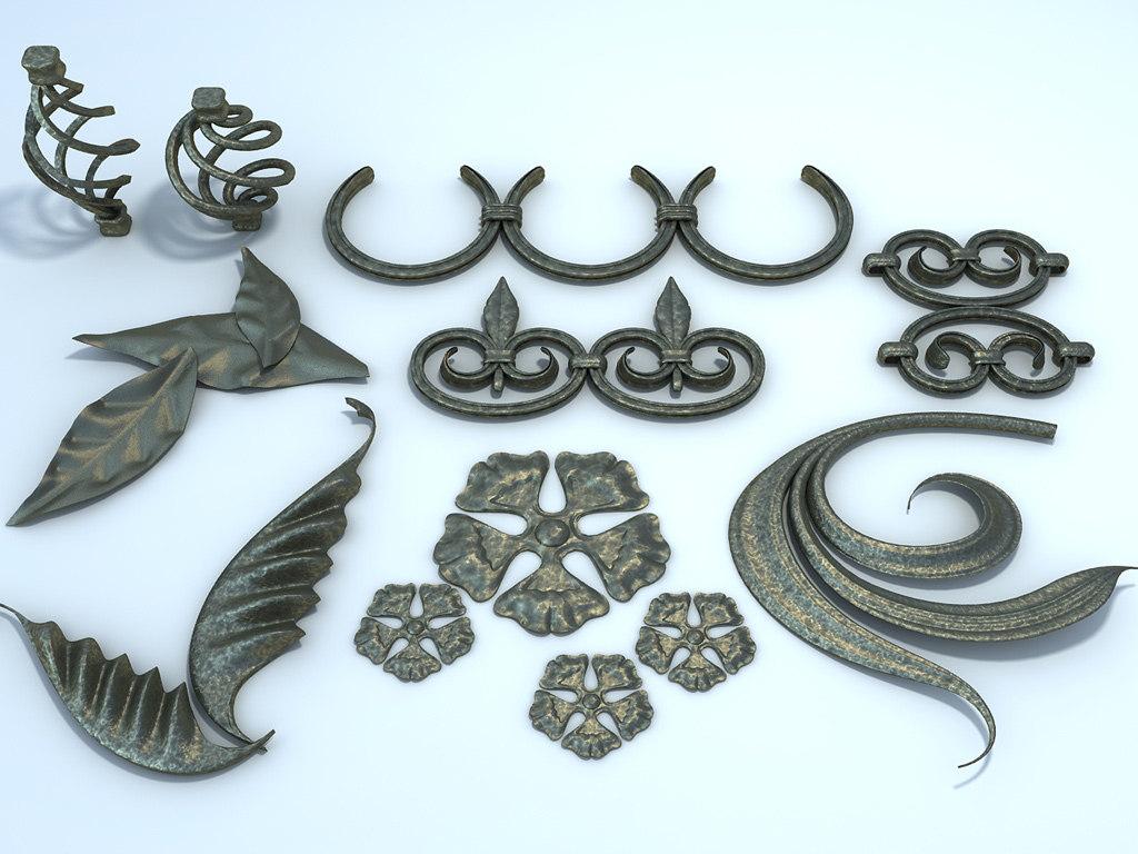 decorative elements forged metal 3d model. Black Bedroom Furniture Sets. Home Design Ideas