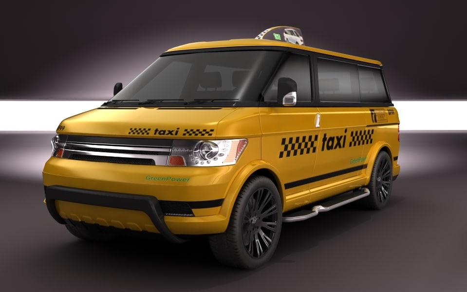 3d multi minivan taxi concept van model