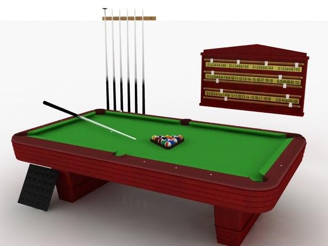 Pool Table Set - High Quality 3d model