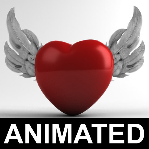 Heart with Wings 3D Models
