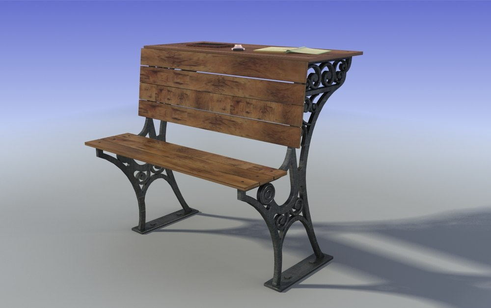 old student wood bench_sample01.jpg