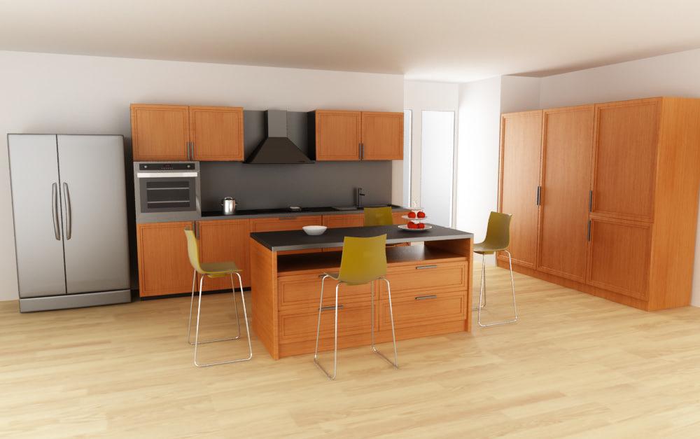 3d kitchen set 02 model for Kitchen set 008 26