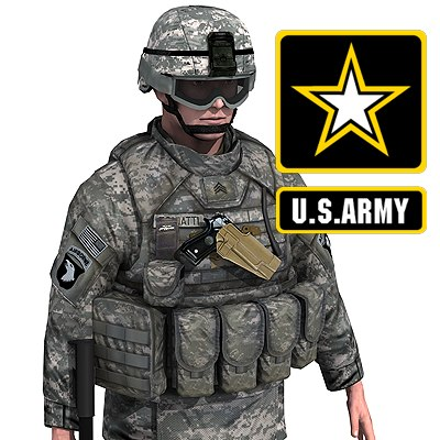 US Army Infantry with IOTV armor 3D Models