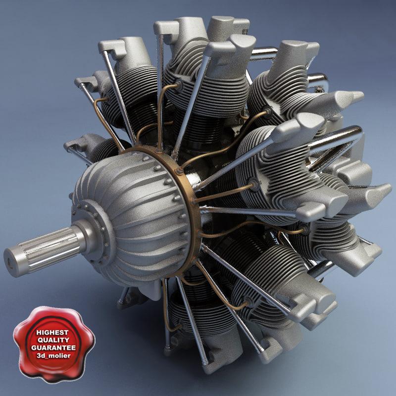 Twin Row-14 WASP.Jr (Radial Engine)