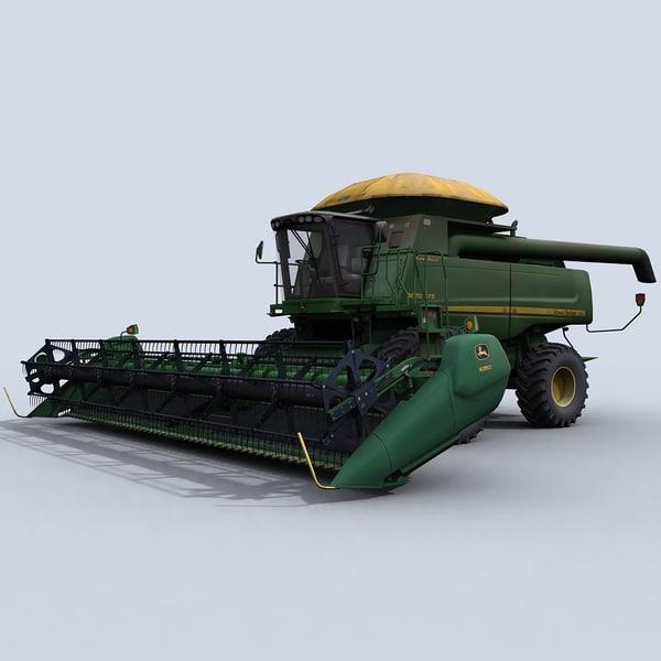Combine Harvester 1 with Draper Platform 3D Models