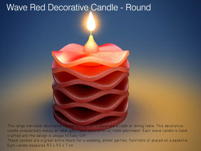 Red Wave Decorative Canlde