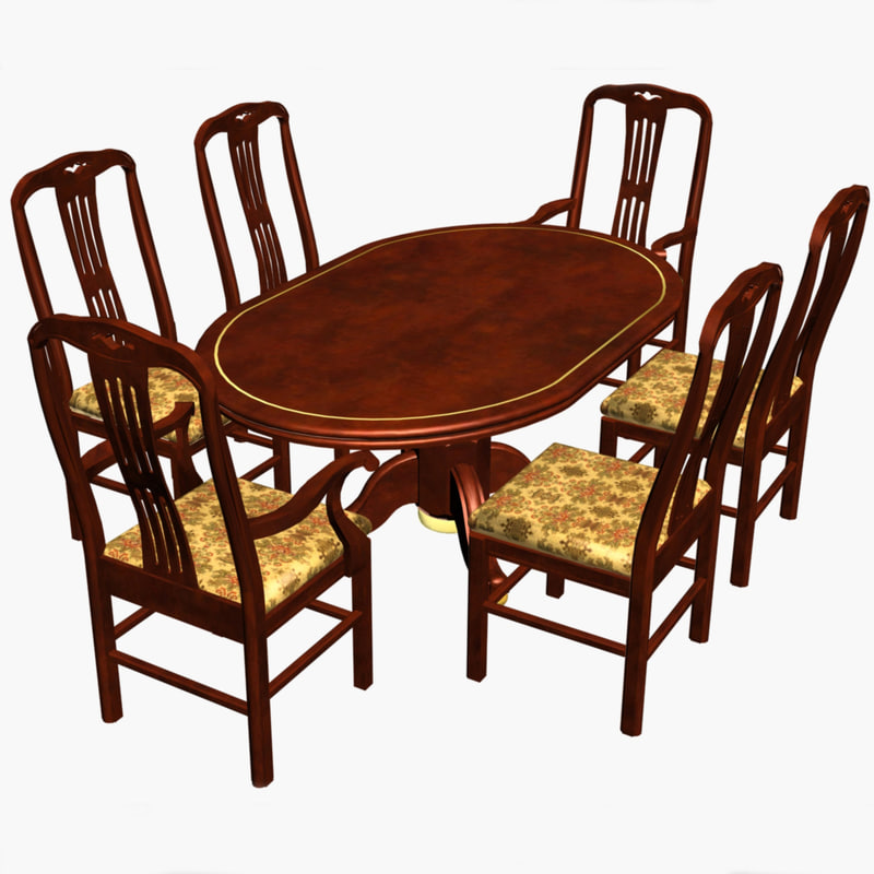 3d dining chairs wood table for Dining table models