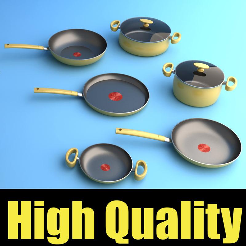 3d set kitchen pots