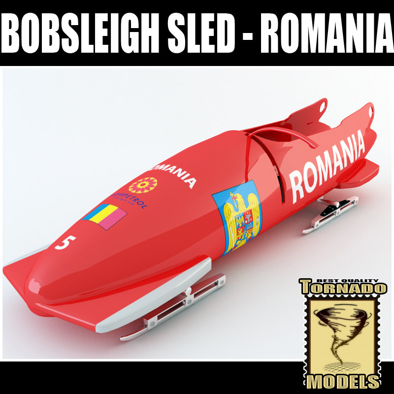 3d bobsleigh sled   romania model