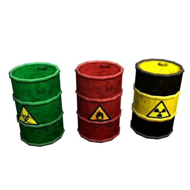 steel barrel 3x - lowpoly