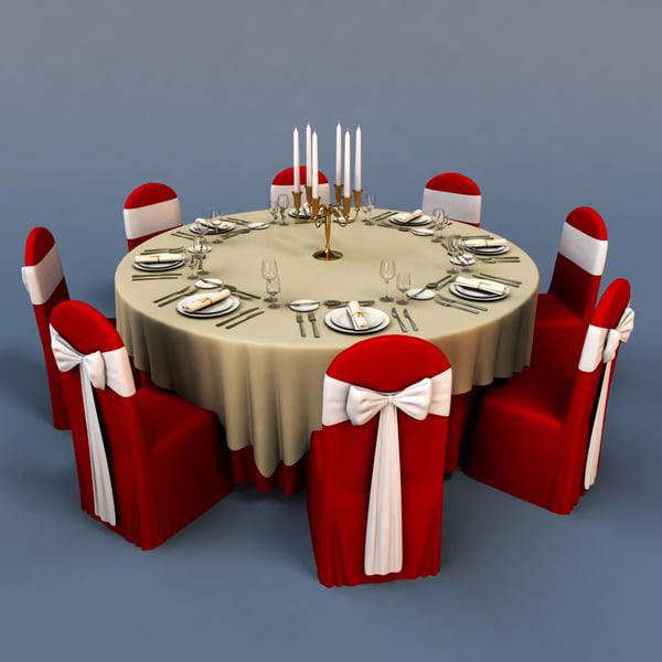 3D Banquet Models Max 3ds Obj Fbx C4d