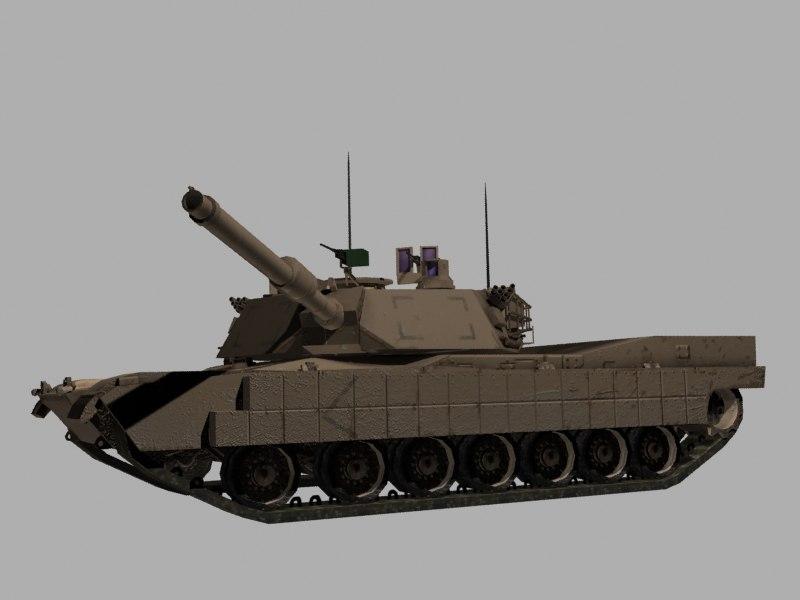 M1A2 TUSK Abrams Tank Game Ready Model
