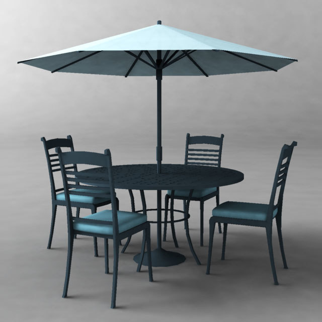 poolside umbrella table chairs 3d model