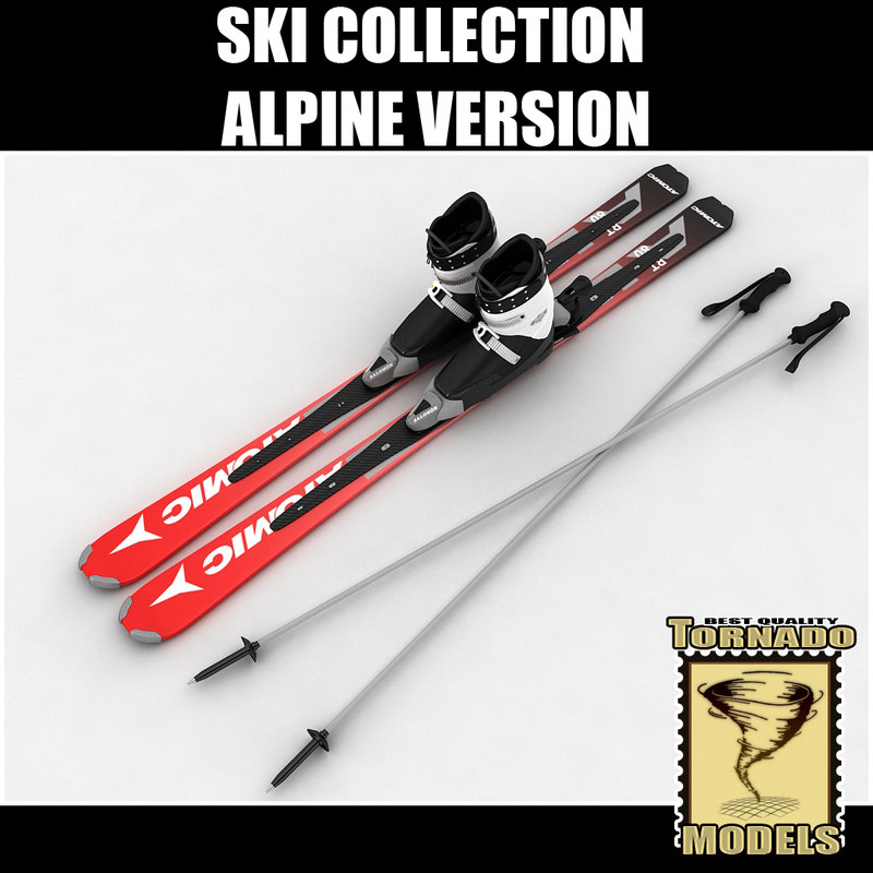 alpine skis boots poles 3d max