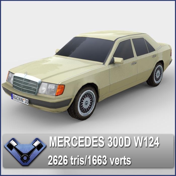 3d mercedes w124 300d model. Black Bedroom Furniture Sets. Home Design Ideas