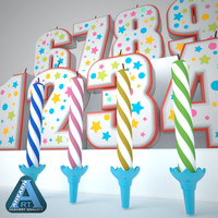 birthday candle 3D models