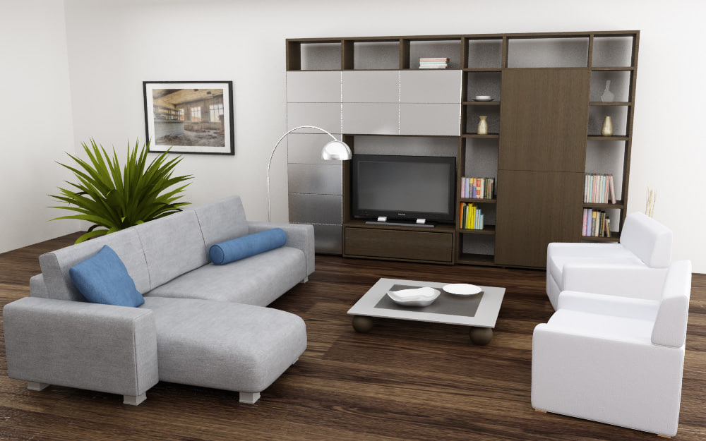 Modern living room interior 3ds max scene with all furniture 3d models - 3ds Max Living Room 04a