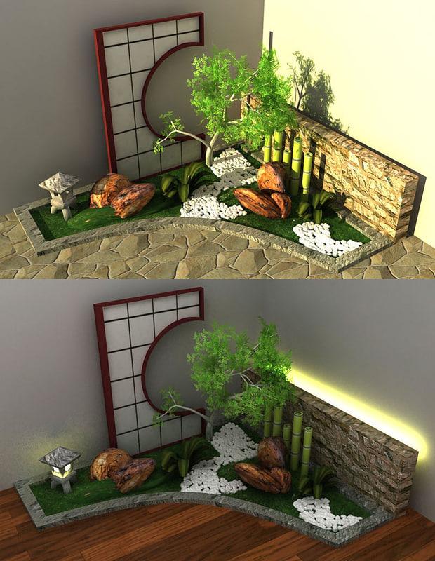 Japanese style garden 3d model - Japanese zen garden indoor ...