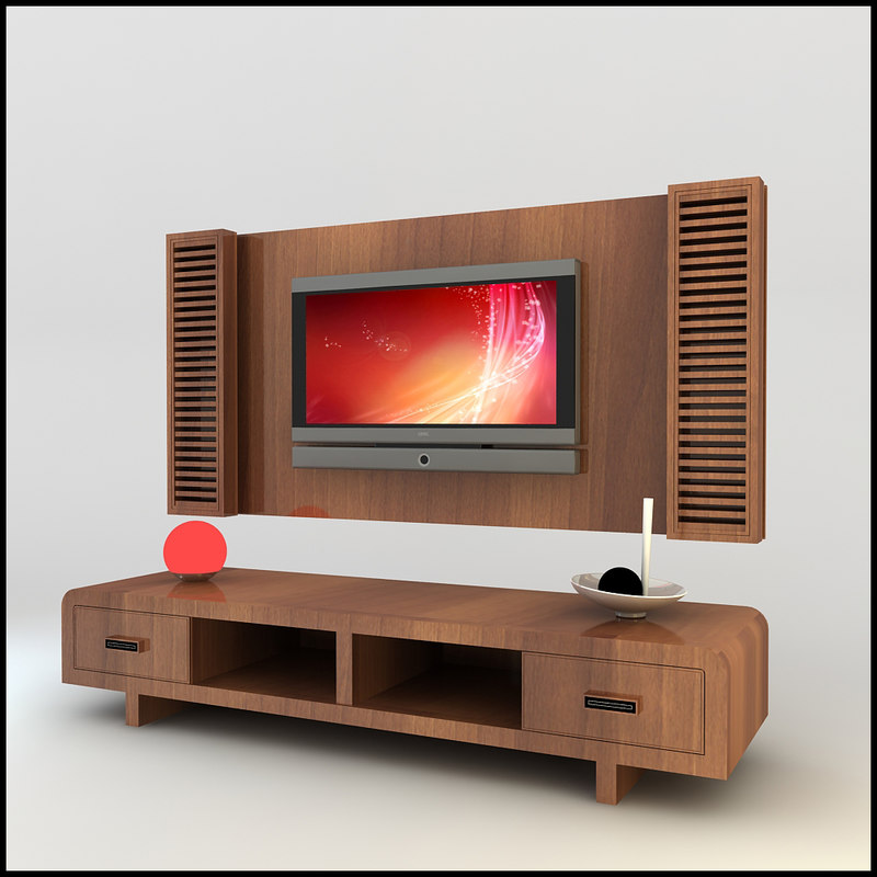 3d model modern tv wall unit for Decor 3d model